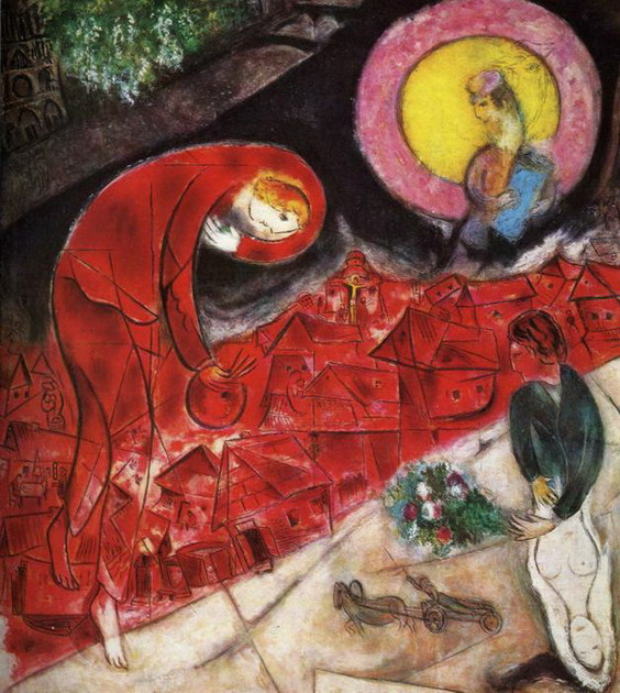 Marc chagall red roofs 1953 for Chagall tableau