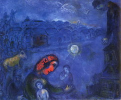 Marc Chagall. Blue Village, 1975