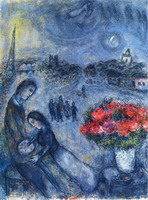 Marc Chagall. Newlyweds with Paris in the Background, 1980