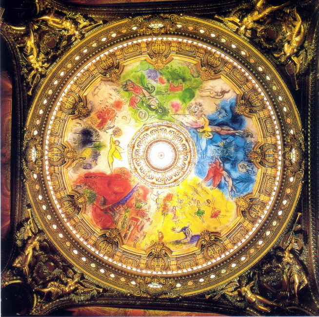 Marc chagall ceiling for the paris opera 1963 for Describe the mural on the ceiling of the stage