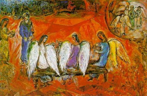 Marc Chagall. Abraham and Three Angels. 1958