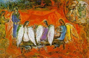 Marc Chagall. Abraham and Three Angels, 1958–1960