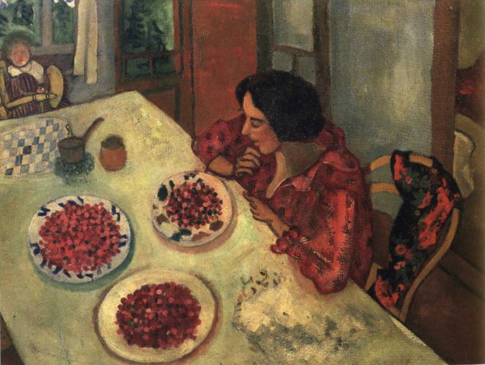 Marc Chagall. Strawberries. Bella and Ida at the Table. 1915