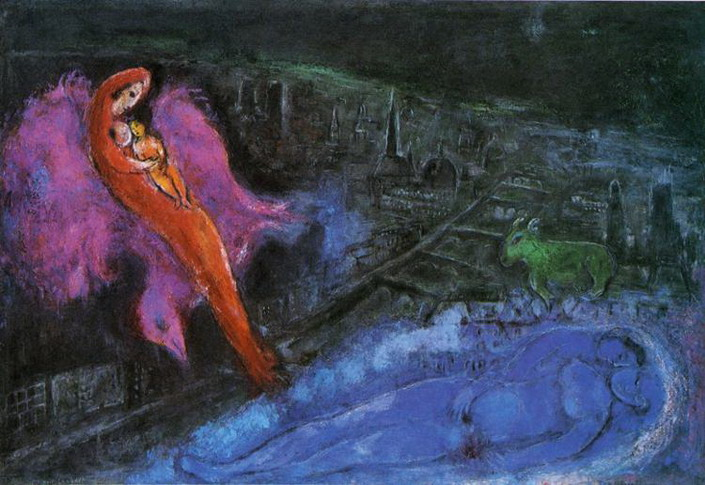 Marc Chagall. Bridges over the Seine. 1954