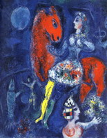 Marc Chagall, Horsewoman on Red Horse, 1966