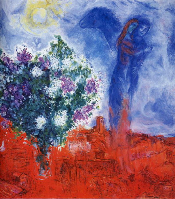 Marc Chagall. Lovers over Sant-Paul. 1970