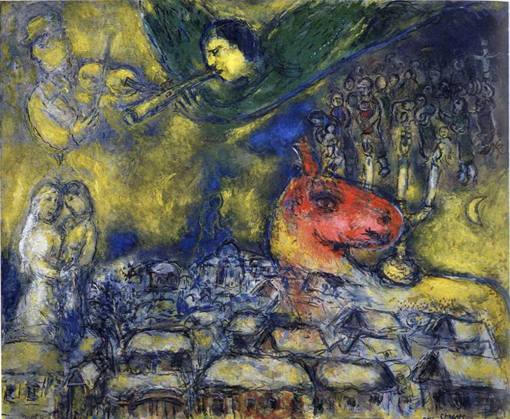 Marc Chagall. Angel over Vitebsk. 1977