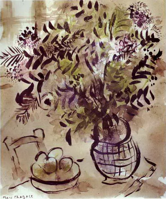 Marc Chagall. Still Life with Vase of Flowers. 1918