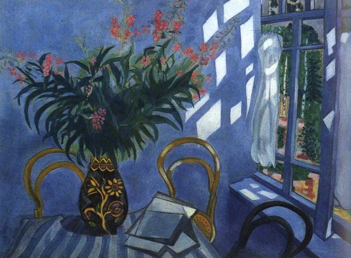 Marc Chagall. Interior with flowers. 1918