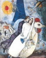 Marc Chagall, Newlyweds on the Eiffel Tower, 1939