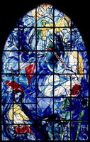 Marc Chagall, Cycle if 9 stained glass windows for church with Rockefeller donations, 1960