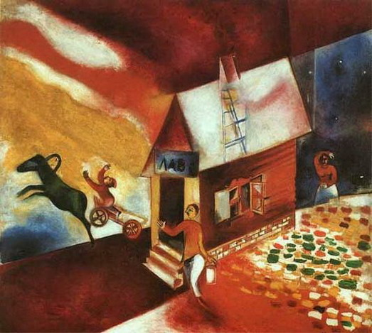 Marc Chagall. The Flying Carriage (La caléche volante). 1913