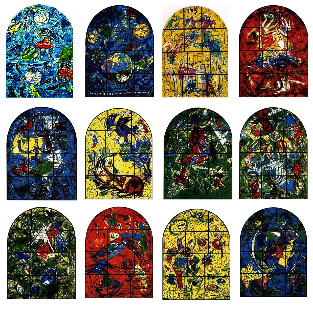 Marc Chagall. Cycle if 12 stained glass windows for Abbell Synagogue in Hadassah Medical Center. 1962