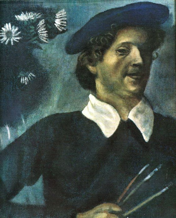 Marc Chagall. Self-Portrait with Brushes. (Autoportrait). 1909