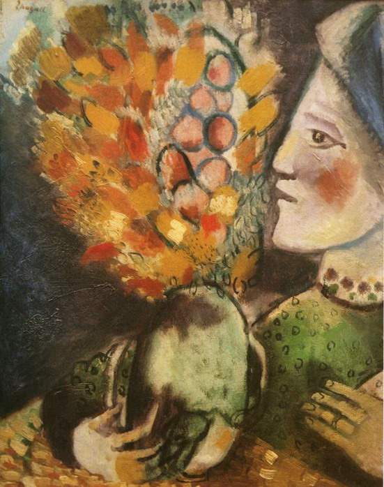 Marc Chagall. Woman with a Bouquet. 1910
