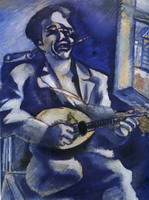 Marc Chagall, Portrait of Brother David with Mandolin, 1914